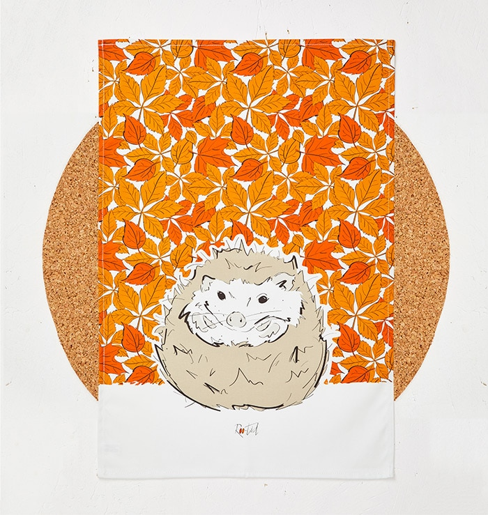 Mr Hedgehog Tea Towel