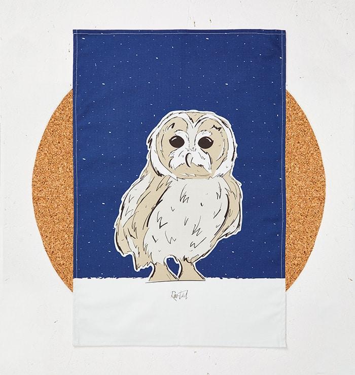 Mr Owl Tea Towel