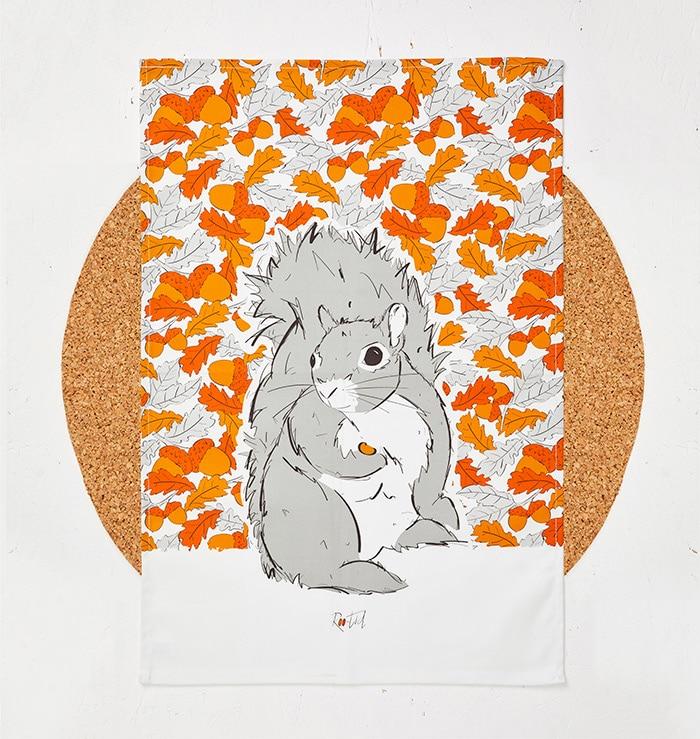 Mr Squirrel Tea Towel