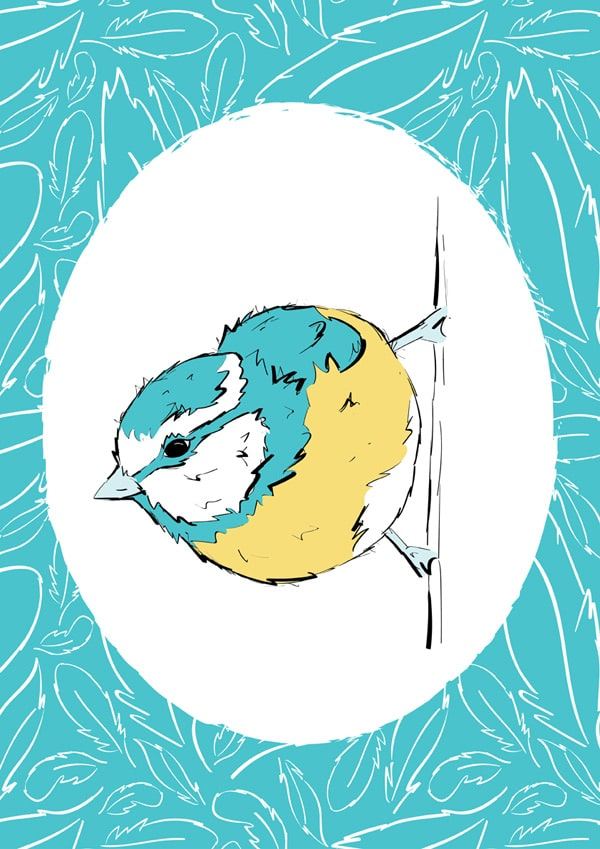 Roo-tid Animal Illustrations - Mr Blue Tit